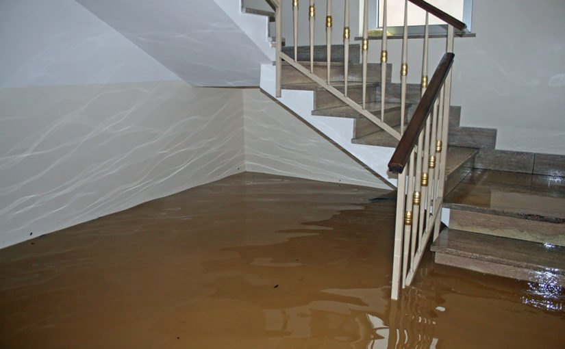 Murky water in a flooded house reaches partway up a three-quarter turn staircase