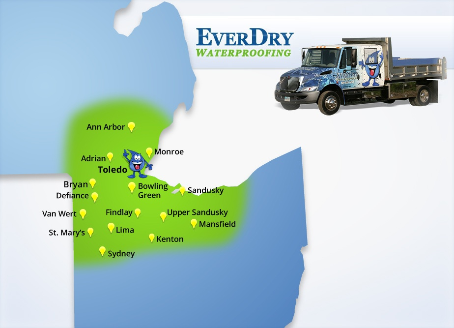 EverDry Waterproofing Service Area Map